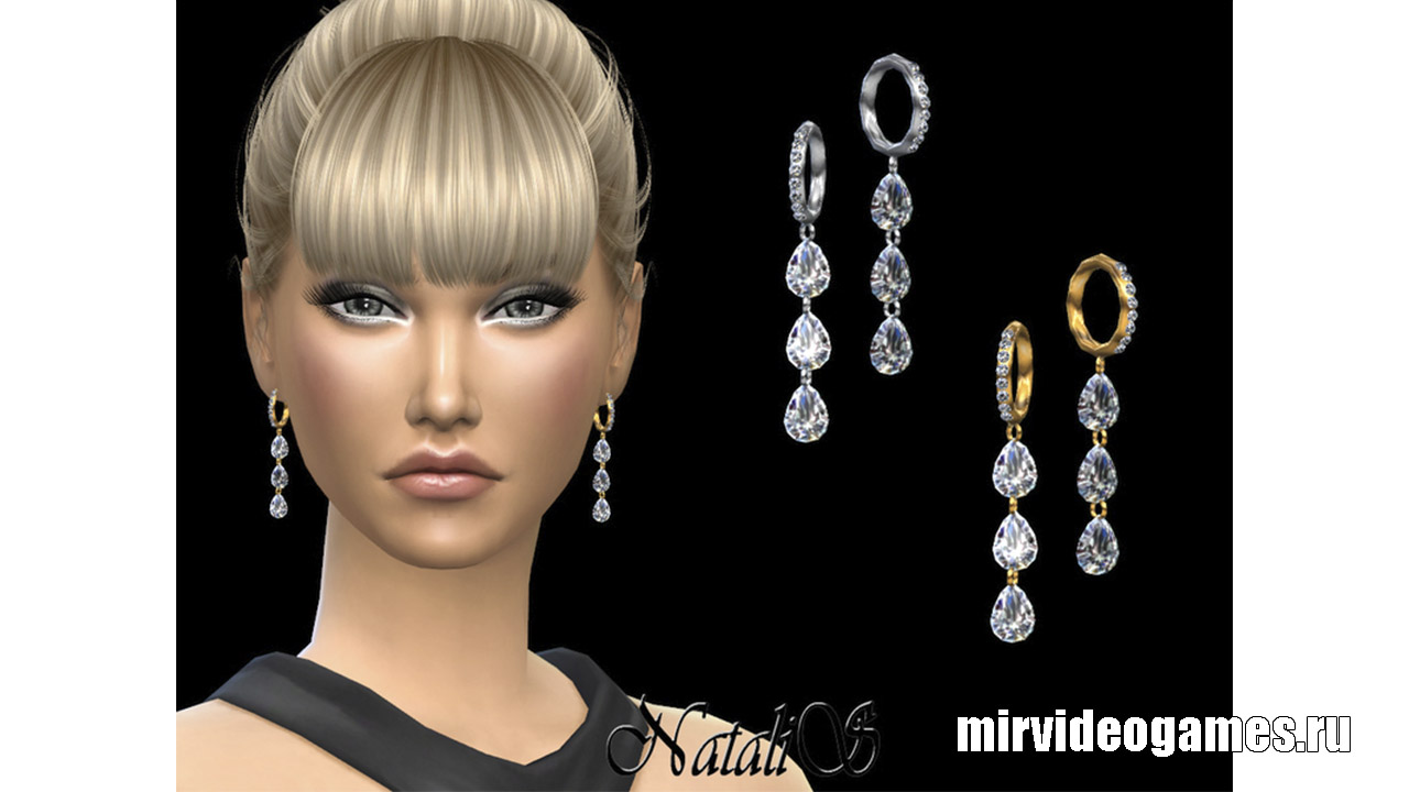 Серьги Pear cut diamond drop от NataliS для The Sims 4
