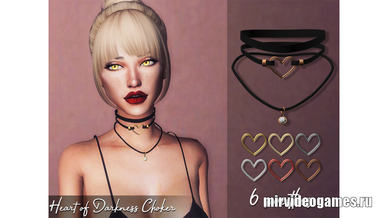 Чокер Heart of Darkness от Genius666 для The Sims 4